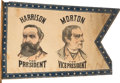 Political:3D & Other Display (pre-1896), Harrison & Morton: Multicolored Jugate Swallow-Tail Banner....