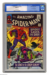 The Amazing Spider-Man #40 (Marvel, 1966) CGC NM 9.4 Off-white pages. Origin of the Green Goblin. John Romita Sr. cover...