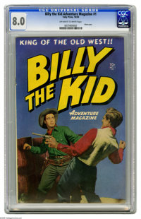 Billy the Kid Adventure Magazine #1 (Toby Publishing, 1950) CGC VF 8.0 Off-white to white pages. Photo cover. This issue...