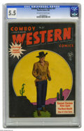 Golden Age (1938-1955):Western, Cowboy Western #27 (Charlton, 1950) CGC FN- 5.5 Off-white to white pages. This issue features Sunset Carson, in an adaptatio...