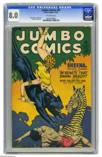 Jumbo Comics #93 (Fiction House, 1946) CGC VF 8.0 Off-white pages. Matt Baker, Jack Kamen, and Robert Webb art. This is...