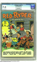 """Golden Age (1938-1955):Western, Red Ryder Comics #8 (Dell, 1942) CGC FN/VF 7.0 Cream to off-white pages. CGC notes: """"Very minor amount of glue on spine of c..."""