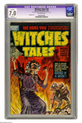 "Golden Age (1938-1955):Horror, Witches Tales #16 (Harvey, 1952) Apparent CGC FN/VF 7.0 off-whitepages Slight (A). Lee Elias cover. CGC notes: ""Restoration..."