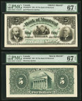 Canadian Currency, Montreal, PQ- Bank of Montreal $5 Jan. 2, 1891 Ch. # 505-40-02FP/BP Face/Back Proofs.. ... (Total: 2 notes)