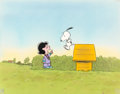 Animation Art:Production Cel, Met Life Peanuts TV Commercial Snoopy and Lucy ProductionCel Setup with Master Painted Background (Bill Melendez,...