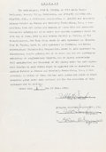Memorabilia:Production Materials, Ub Iwerks - Pat Powers Studio Double-Signed Contract (P. A. Powers, 1936)....