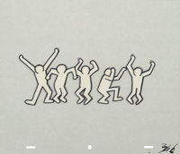 After Keith Haring Sesame Street Break-Dancers, (three works) Marker on overhead sheet 10-1/2 x