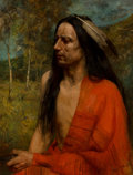 Fine Art - Painting, American, Richard Creifelds (American, 1853-1939). Indian with RedRobe, 1904. Oil on canvas. 33 x 25 inches (83.8 x 63.5 cm).Sig...