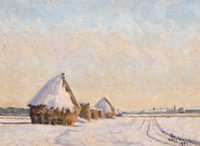 Georges Emile Lebacq (Belgian, 1876-1950) Haystack in Winter at Chamant (Oise), 1933 Oil on canvas
