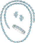 Estate Jewelry:Suites, Blue Topaz, Diamond, White Gold Jewelry Suite. ... (Total: 4 Items)
