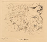 André Dunoyer de Segonzac (French, 1884-1974) Moisson Etching on paper 5-3/4 x 6-3/4 inches (14.6