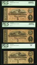 Confederate Notes:1864 Issues, T69 $5 (3) 1864 PF-3 (2); PF-9.. ... (Total: 3 notes)