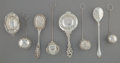 Silver Flatware, American, Eight Silver and Silver-Plated Tea-Related Wares, late 19th-early20th centuries. Marks: (various). 7 inches long (17.8 cm) ...(Total: 8 Items)
