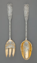 Silver Flatware, American:Gorham, A Two-Piece Gorham St. Cloud Pattern Partial Gilt SilverSalad Serving Set, Providence, Rhode Island, designed 1... (Total:2 Items)