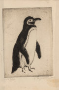 Prints & Multiples, Eleanor Ingersoll Maurice (American, 1901-2001). Magellanic Penguin, c. 1930. Etching on paper. 3-1/2 x 2-1/2 inches (8....