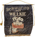 Political:3D & Other Display (1896-present), Wendell Willkie: Unusual Large Campaign Banner....