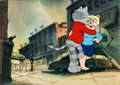Animation Art:Production Cel, Fritz the Cat Production Cel with Key Master Background(Ralph Bakshi, 1972)....