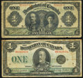 Canadian Currency, DC-18d-i $1 1911;. DC-25n $1 1923. ... (Total: 2 notes)