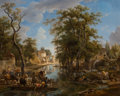 Fine Art - Painting, European:Antique  (Pre 1900), Jean-Louis Demarne (French, 1750-1829). A lively canal scenewith ferries and boats conveying townspeople and animals. O...