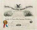 Military & Patriotic:Indian Wars, Thomas Mower McDougall's Certificate of Membership as a Son of the American Revolution....