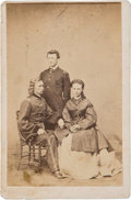 Photography:CDVs, George Armstrong Custer: A Classic Brady Carte de Visite Image of George and Libbie Custer with Brother Tom....