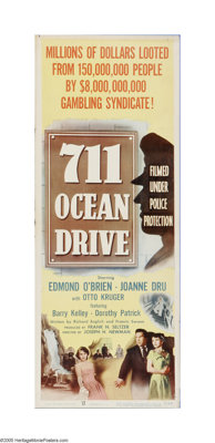 """711 Ocean Drive (Columbia, 1950). Insert (14"""" X 36""""). Offered here is a vintage, theater-used poster for this..."""