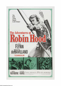 "Adventures of Robin Hood (Warner Brothers, R-1956). One Sheet (27"" X 41""). This is a linen backed, vintage, th..."