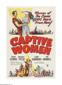 "Captive Women (RKO, 1952). One Sheet (27"" X 41""). This is a vintage, theater-used poster for this post-nuke su..."