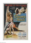 "Movie Posters:Adventure, Drums of Tahiti (Columbia, 1954). One Sheet (27"" X 41""). Offeredhere is a vintage, theater-used poster for this adventure t..."