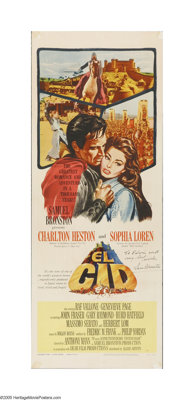 "El Cid (Allied Artists, 1961). Insert (14"" X 36""). This is a folded, vintage, theater-used poster for this his..."
