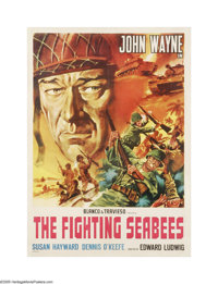 "The Fighting Seabees (Republic, 1944). Italian Poster (19.5"" X 27""). This is a linen backed, vintage, theater-..."