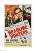 "Movie Posters:Drama, Headline Hunters (Republic, 1955). One Sheet (27"" X 41""). Offered here is a vintage, theater-used poster for this newspaper ..."
