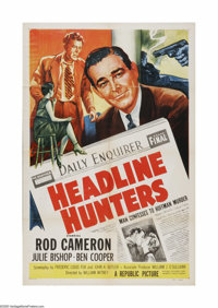 """Headline Hunters (Republic, 1955). One Sheet (27"""" X 41""""). Offered here is a vintage, theater-used poster for t..."""