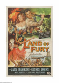 """Movie Posters:Adventure, Land of Fury (Universal, 1955). One Sheet (27"""" X 41""""). Offered hereis a vintage, theater-used poster for this adventure tha..."""