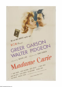 "Madame Curie (MGM, 1943). One Sheet (27"" X 41""). Offered here is a vintage, theater-used poster for this histo..."