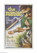 """Movie Posters:Horror, The Maniac (Columbia, 1963) One Sheet (27"""" X 41""""). This is a vintage, theater used poster for this horror thriller that was ..."""
