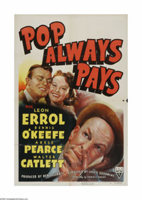 "Pop Always Pays (RKO, 1940). One Sheet (27"" X 41""). Offered here is a vintage, theater-used poster for this co..."