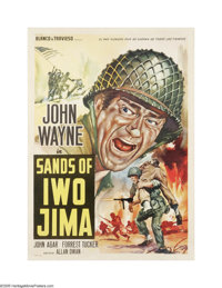 "Sands of Iwo Jima (Republic, 1950). Italian Poster (19.5"" X 27""). This is a linen backed, vintage, theater-use..."