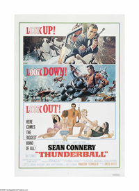 "Thunderball (United Artists, R-1976). One Sheet (27"" X 41""). This is a linen backed, vintage, theater-used pos..."