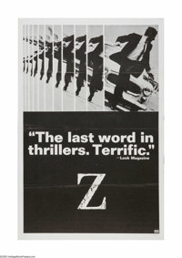 "Z (Cinema 5, 1969). One Sheet (27"" X 41""). Offered here is a vintage, theater-used poster for this political t..."