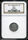 Bust Dimes: , 1821 10C Large Date XF45 NGC. JR-6, R.2. Light tan patina visitsportions of the peripheral areas, and traces of luster are...