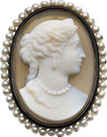 Estate Jewelry:Brooches - Pins, Victorian Hardstone Cameo, Black Onyx, Seed Pearl, GoldPendant-Brooch. ...