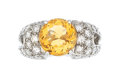 Estate Jewelry:Rings, Diamond, Citrine, Platinum Ring. ...