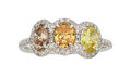 Estate Jewelry:Rings, Fancy Colored Diamond, Diamond, Platinum Ring . ...