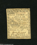 Colonial Notes:Continental Congress Issues, Continental Currency February 17, 1776 $1/3 Extremely Fine-AboutUncirculated. A lightly circulated example of this popular ...