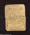 Colonial Notes:Continental Congress Issues, Continental Currency February 17, 1776 $1/3 Very Good.This note hasbeen bisected and rejoined with four pieces of thread....