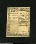 Colonial Notes:Continental Congress Issues, Continental Currency February 17, 1776 $1/2 Very Fine-ExtremelyFine. The more elusive $1/2 plate B that has been heavily qu...