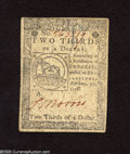 Colonial Notes:Continental Congress Issues, Continental Currency February 17, 1776 $2/3 Very Fine. Thesignature is still strong on this Continental....