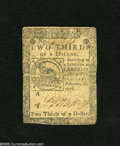 Colonial Notes:Continental Congress Issues, Continental Currency February 17, 1776 $2/3 Very Fine. A highlydesirable Fugio design Continental that is crisp with good d...