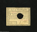 Colonial Notes:New Hampshire, New Hampshire April 29, 1780 $20 About New. A very lightlycirculated example of this punch cancelled New Hampshire notetha...